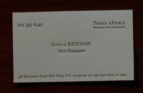 American psycho business card best business card ever bateman new card what do you think mcdermott lifts it up and examines the lettering carefully mcdermott whoa very nice take a look friedricerecipe Image collections